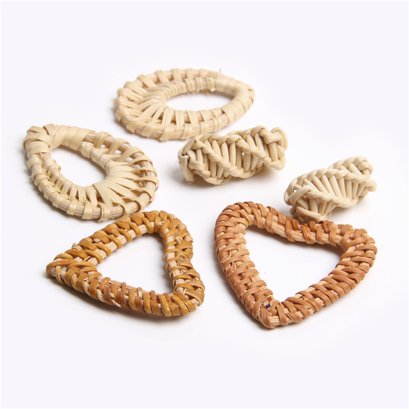 2-10 Piece Natural Grass Braid Irregular Geometric Hollow Pendant Handmade Wood Rattan Bamboo Weave Craft For DIY Making Jewelry