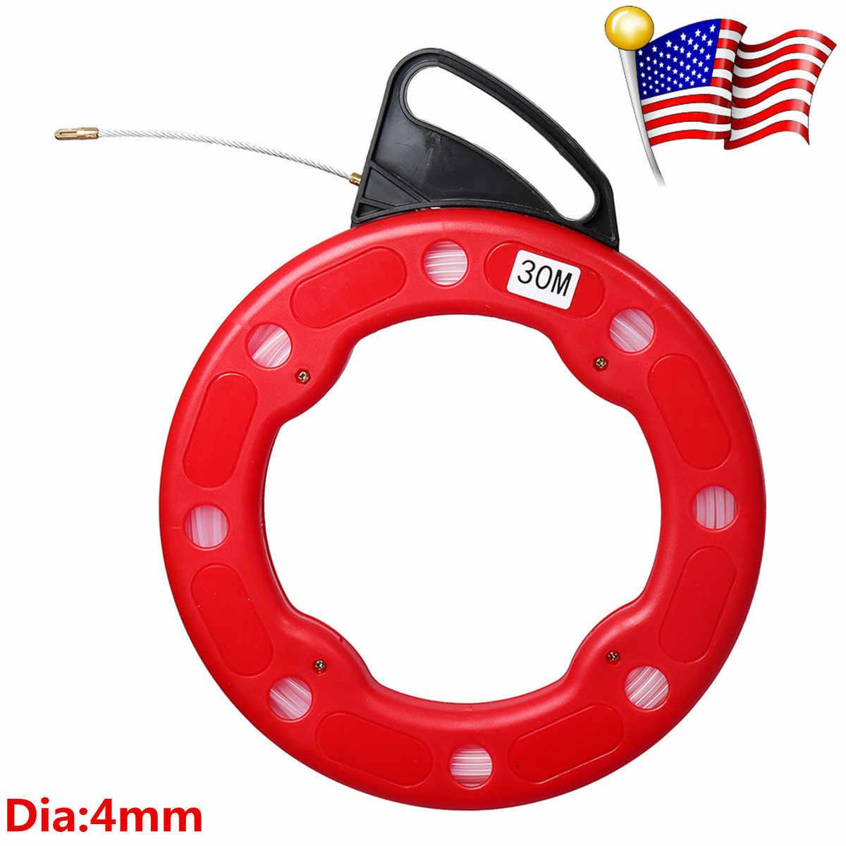 30M 4mm fiber de verre poisson bande bobine extracteur fiber de verre en nylon Conduit Conduit Rodder tirant fil câble outil de pêche rouge