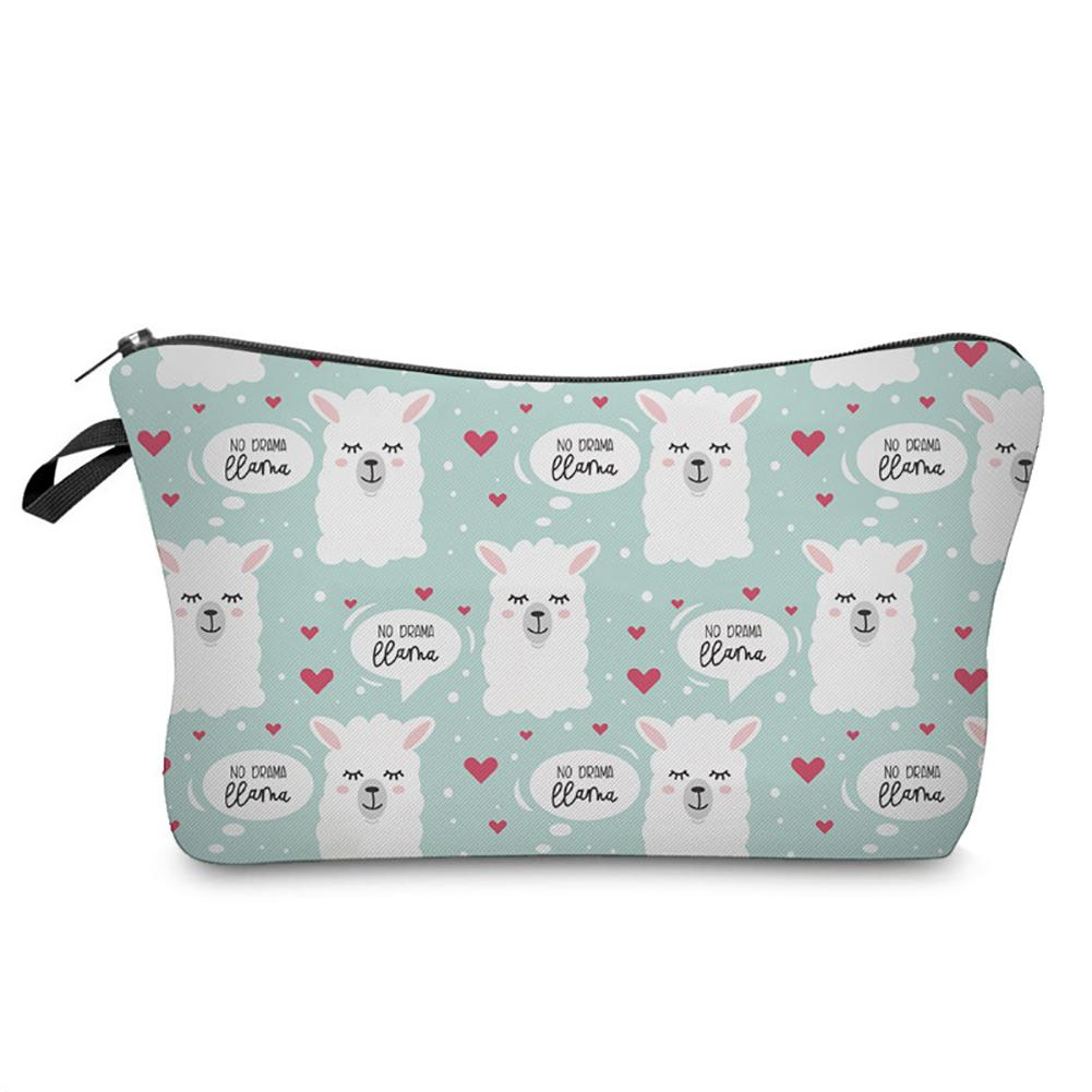 Portable Cute Llama Alpaca Printed Travel Cosmetic Storage Bag Container Holder