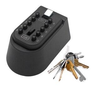 Image 1 - Caja de bloqueo de almacenamiento de llaves para exteriores montado en la pared caja de seguridad de llave de contraseña de combinación de botón pulsador de 10 dígitos