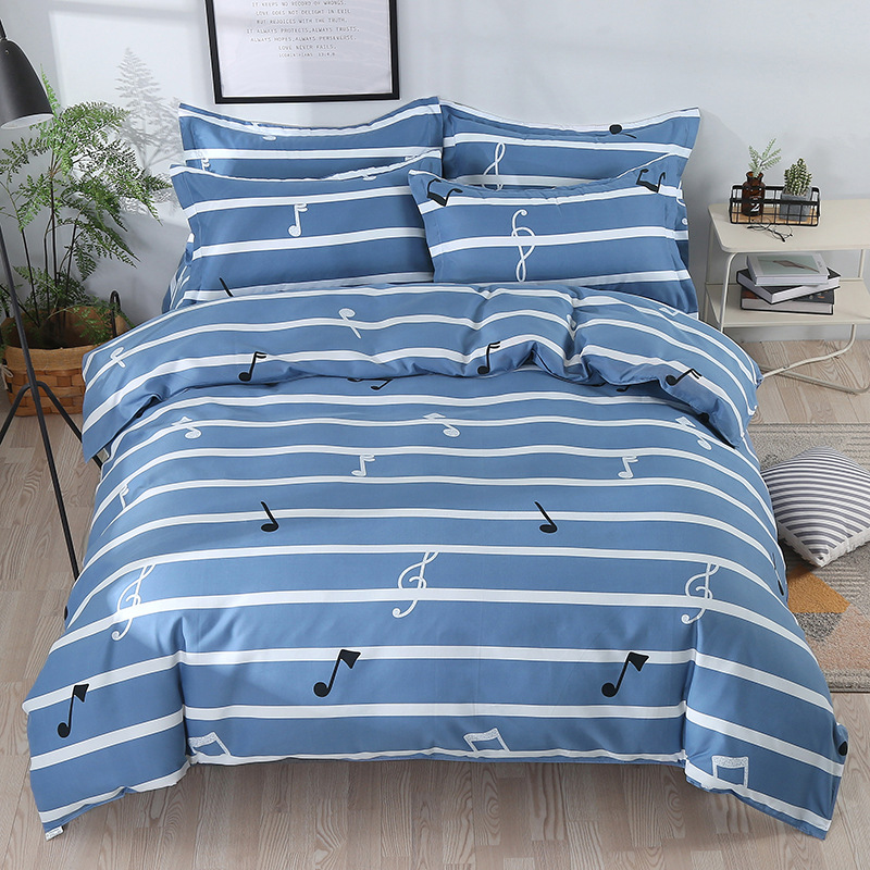 Thick Brushed Printed Four-piece Bedding Set Sheet Quilt Cover Mount Kit Bed Textile Supplies