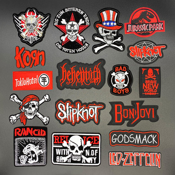 Skull ROCK Hand Cross Dinosaur DIY Cartoon Badges Embroidery Patch Applique Ironing Clothing Sewing Supplies Decorative Patches embroidered patches medic skull tactical military patches paramedic decorative reflective medical cross embroidery badges