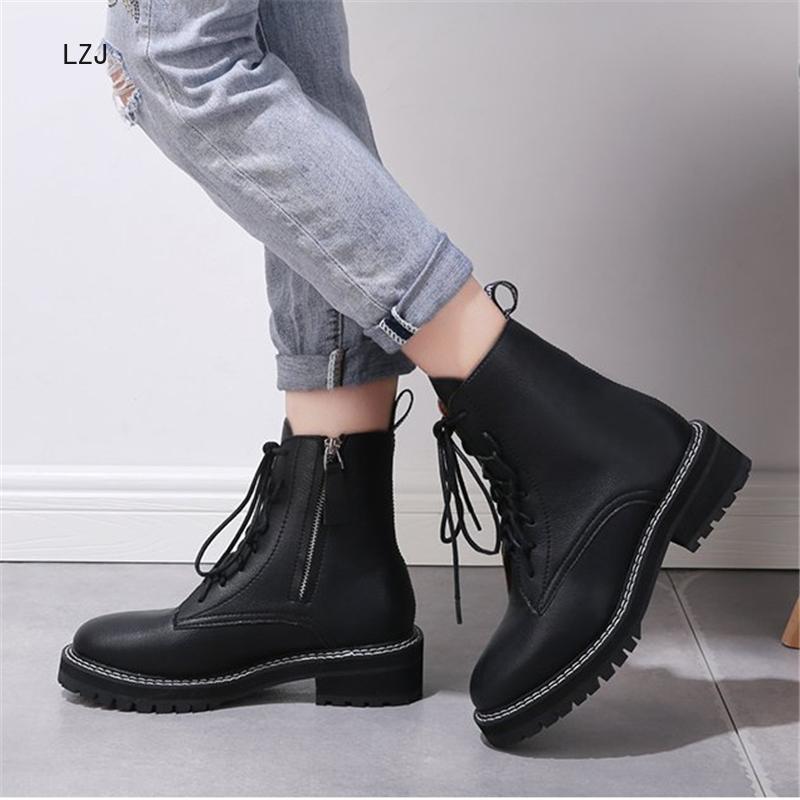 LZJ 2019 סתיו החורף חדש נשים של האופנה קרסול מגפי נשים נעליים שטוחות נוח ללבוש עמיד עמיד למים חם קרסול מגפיים