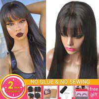 Pelucas de cabello humano liso para mujeres negras, peluca de encaje de cuero cabelludo falso con flequillo, pelucas de parte media no Remy, cabello natural brasileño