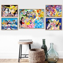 5D DIY Diamond Painting Art Sailor Moon Full Round Drill Japan Anime Role Pictures Embroidery Cross Stitch Craft Wall Decoration
