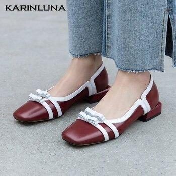 Karinluna Brand New Sweet Little Bow Tie Chunky Heels Genuine Leather Cow Skin Women Shoes Pumps