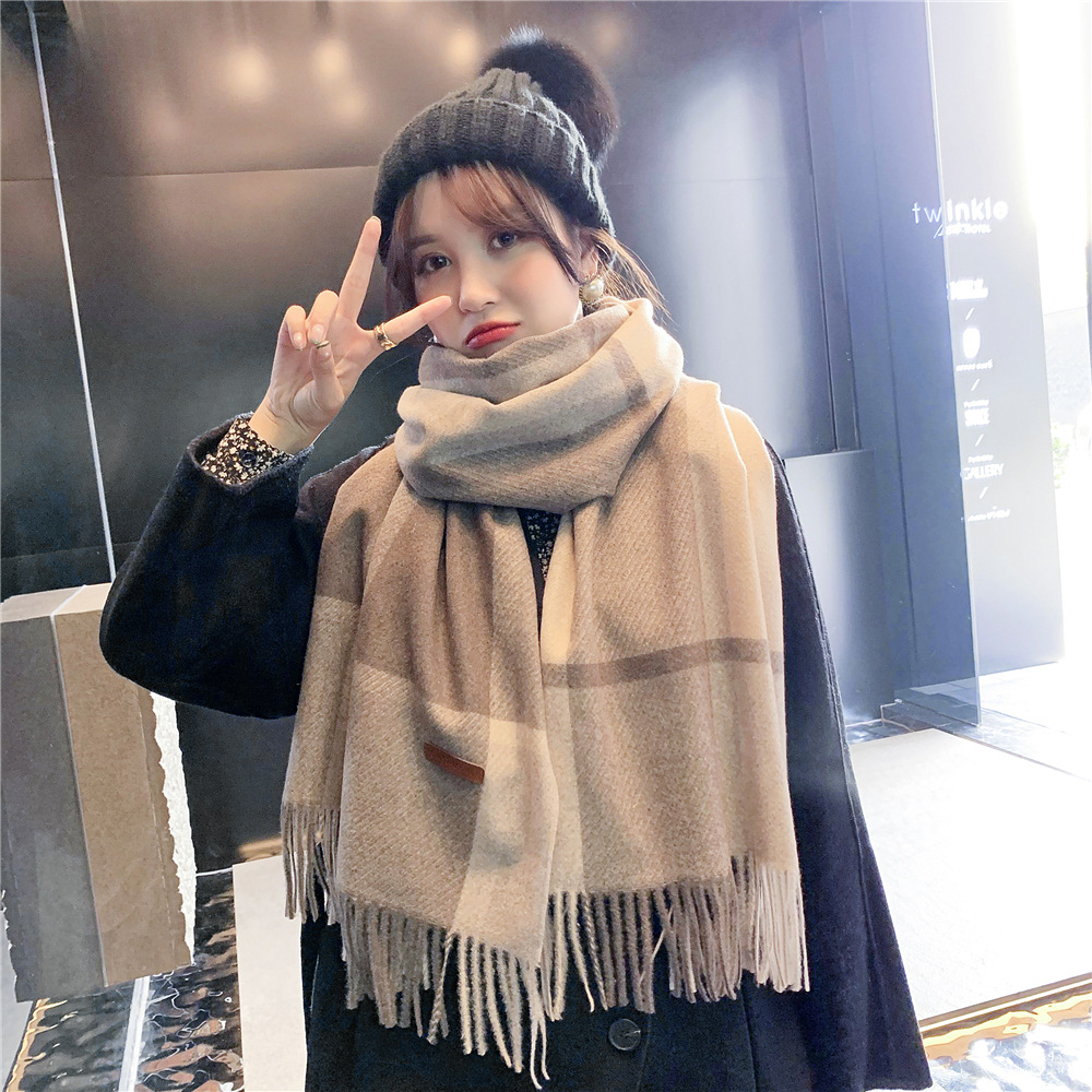 Korean Version Autumn Winter Ladies New Plaid Scarf Season Japanese Long Style Student Couple Shawl Wild Warm Thick Bufanda Шарф