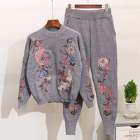 High Quality Loose Women Sweater Set Top Long Pants Knitted Tracksuit Suit Autumn Winter Casual Embroidery 2 Two Piece Set Women