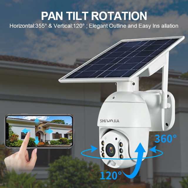 SHIWOJIA 1080P HD Solar Panel Outdoor Surveillance Waterproof CCTV Camera 3