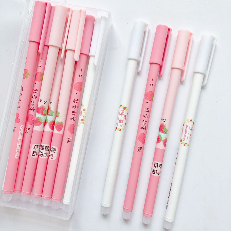 3 Pcs/lot Strawberry Shortcake Blue Ink Erasable Gel Pen Signature Pen Escolar Papelaria School Office Supply Promotional Gift