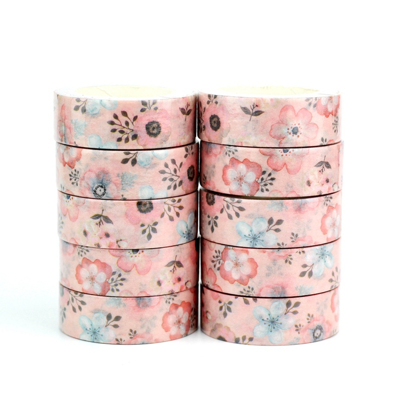 Wholesale 10pcs/lot Decorative Pink Flowers Washi Tapes DIY Scrapbooking Planner Adhesive Masking Tapes Kawaii Stationery
