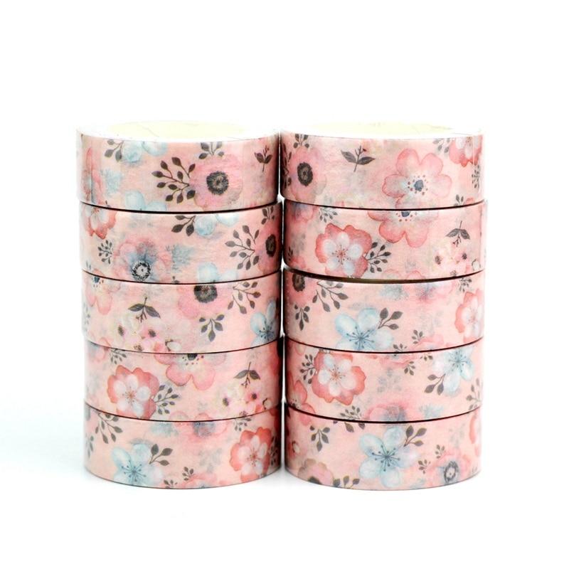 Wholesale 10pcs/lot Decorative Pink Flowers Washi Tapes DIY Scrapbooking Planner Adhesive Masking Tapes Kawaii Stationery