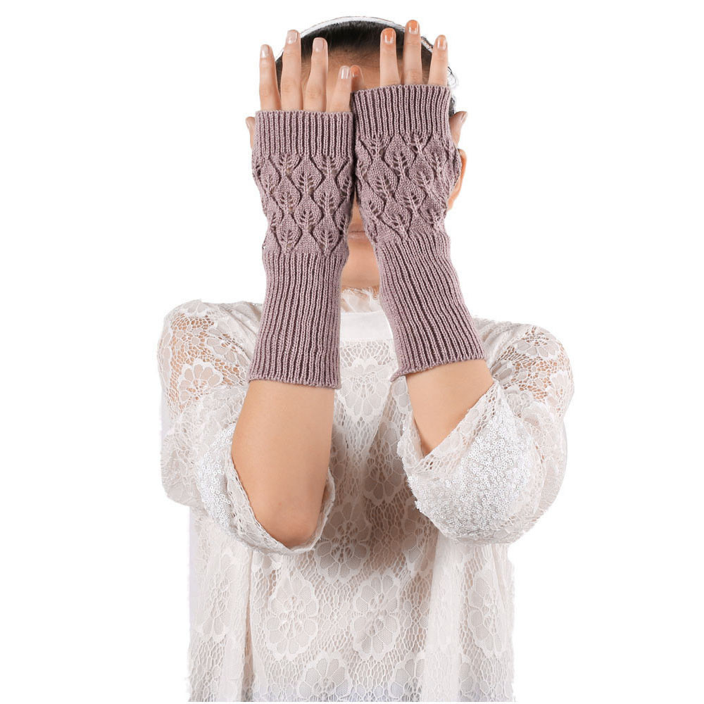 Sleeper #P501 2019 Fashion Hollow Out Leaves Knitted Gloves перчатки женские Solid Color Gifts Winter Warm Hot Free Shipping