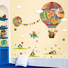 Hot Air Balloon Bear Penguin Giraffe Cartoon Home Decor Wall Stickers  PVC Snow Girl Living Room Kids D