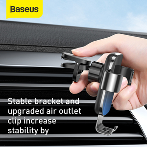 Image 5 - Baseus重力車携帯電話ホルダーユニバーサルカーエアコンセントベントマウントスマートフォン金属車充電スタンド電話ホルダー