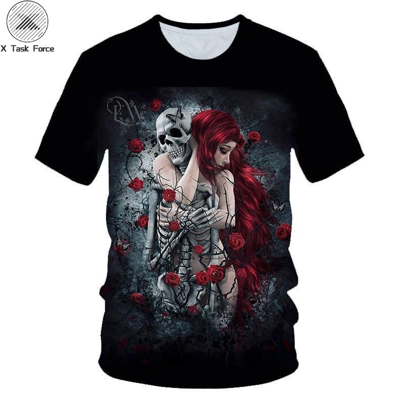 3D Printed Skull Short-sleeved T-shirt Summer Men's Fashion Shirt Men And Women Loaded Anime Funny Scare Short-sleeved T-shirt Streetwear Harajuku Hip Hop X Task Force Drop Ship Plus European Size 100-160 S-6XL