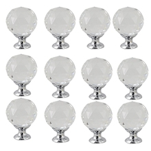 12Pcs 30Mm Diamond Shape Design Crystal Glass Knobs Cupboard Drawer Pull Kitchen Cabinet Door Dresser Wardrobe Handles Hardware