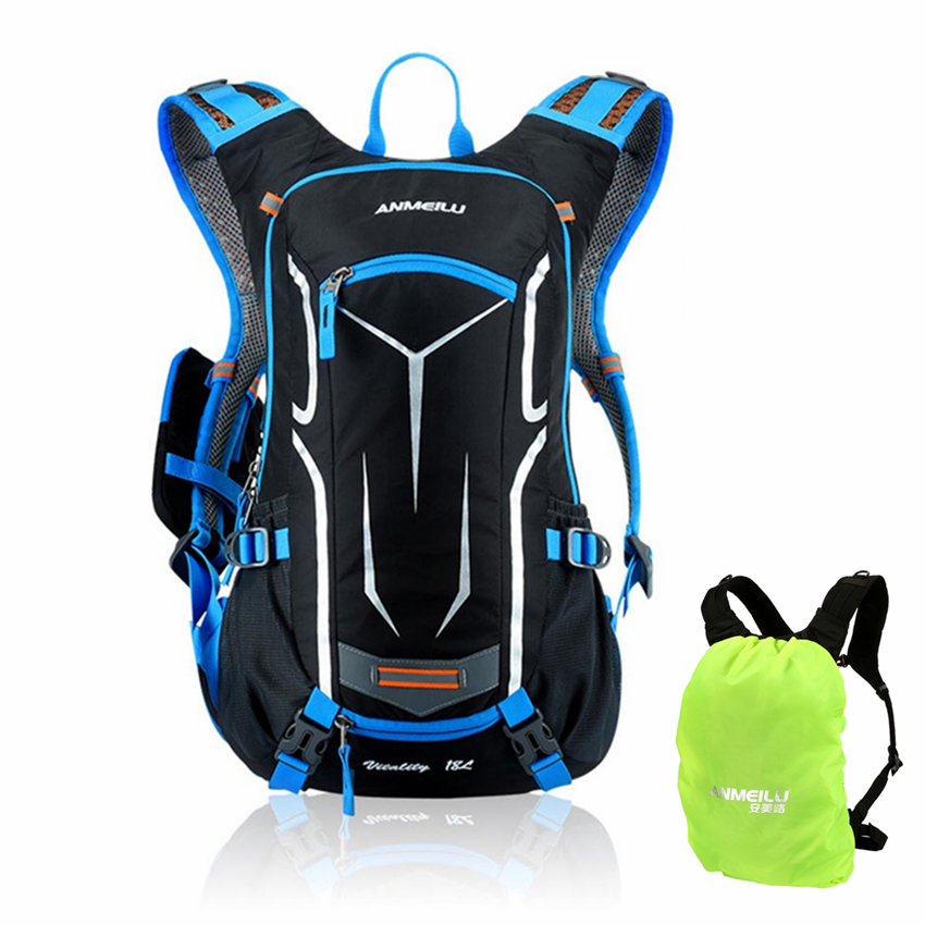 18L Cycling Backpack Rucksack Bicycle Bag with Rain Cover Breathable Riding Camping Hydration Bike Backpack Hiking Cross Bag