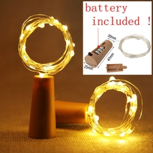 Included Battery Powered Garland Wine Bottle Lights with Cork Copper Wire Colorful Fairy String for Party Wedding Decor