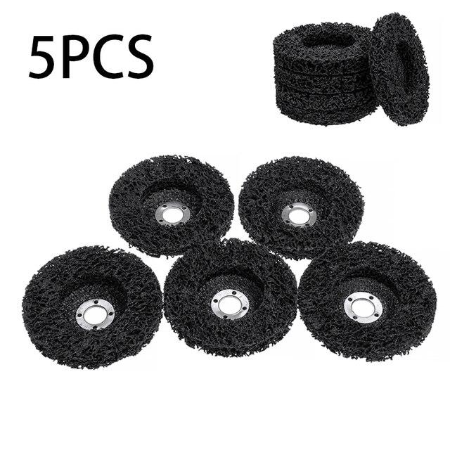 5 adet poli şerit diskli tekerlek araba boyası pas temizleme Clean açı öğütücü aşındırıcı diski 100*16mm açı öğütücüler için
