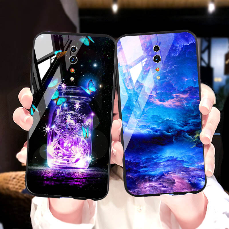 Tempered Glass phone <font><b>Case</b></font> For <font><b>OPPO</b></font> reno z 2Z 2 <font><b>Cases</b></font> Silicone Coque <font><b>case</b></font> For <font><b>OPPO</b></font> Realme 3 pro <font><b>F7</b></font> F9 Back Cover Bumper Capa image