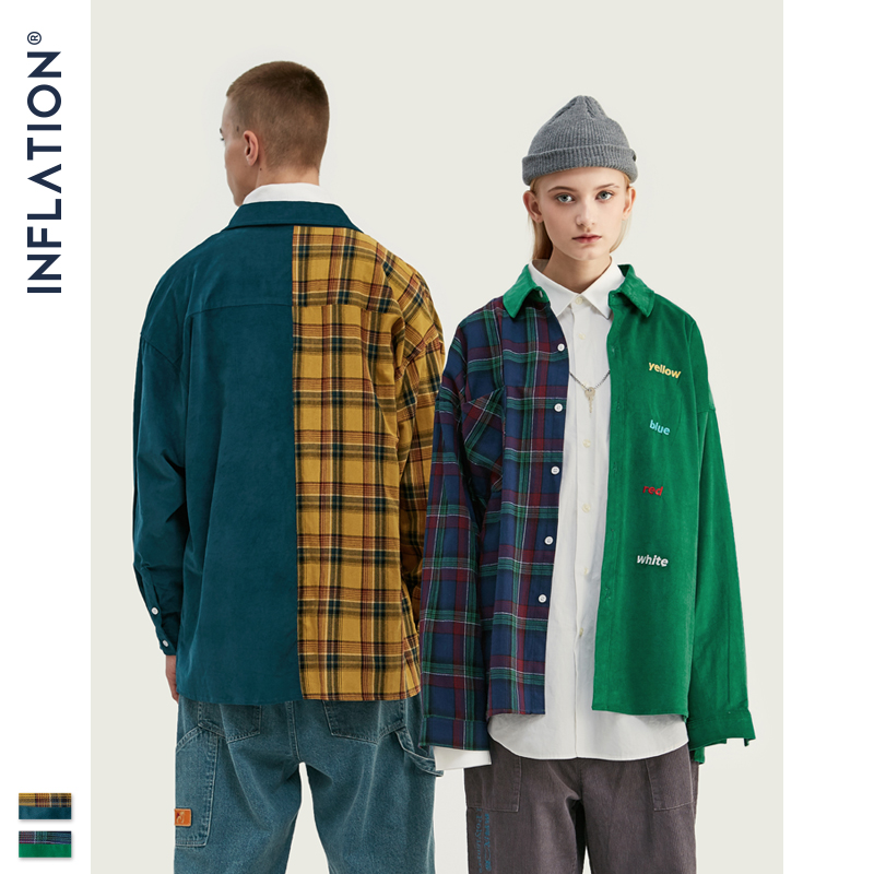 INFLATION BRAND Oversize Plaid Shirt Men 2019 FW Streetwear Patchwork Embroidery Men Shirt Hip Hop Cotton Mens Shirt Tops 92102W