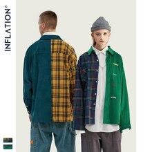 INFLATION BRAND Oversize Plaid Shirt Men 2019 FW Streetwear Patchwork Embroidery Men Shirt Hip Hop Cotton Mens Shirt Tops 92102W
