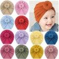 Детские Тюрбан шляпа для детей ясельного возраста, для маленьких мальчиков и девочек Однотонные узлом шапка головной убор аксессуары хлопк...