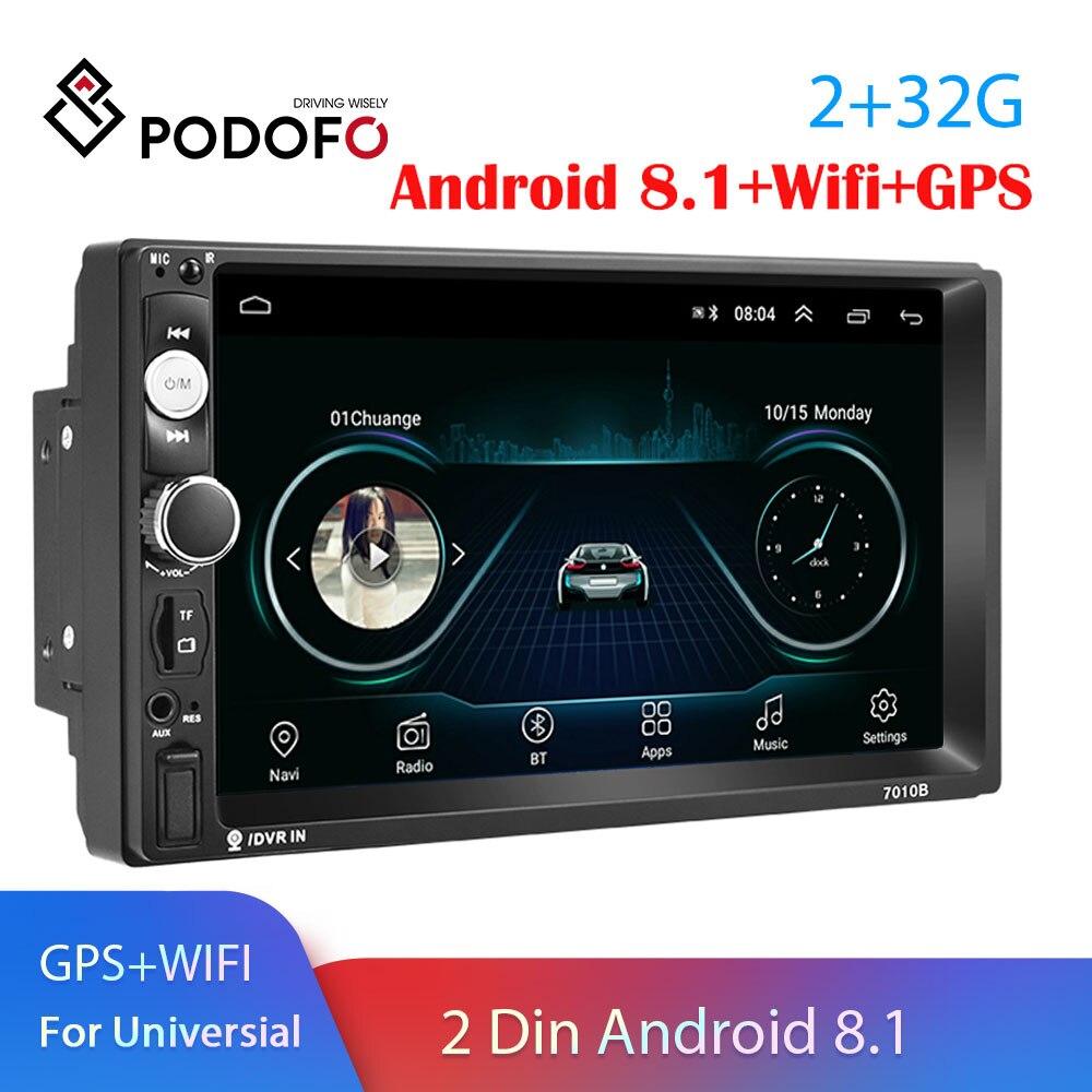 Podofo 2 Din Android 8 1 Auto Radio GPS Navigation Car Radio 7inch Car Multimedia Player Wifi Bluetooth USB Universal Car Stereo