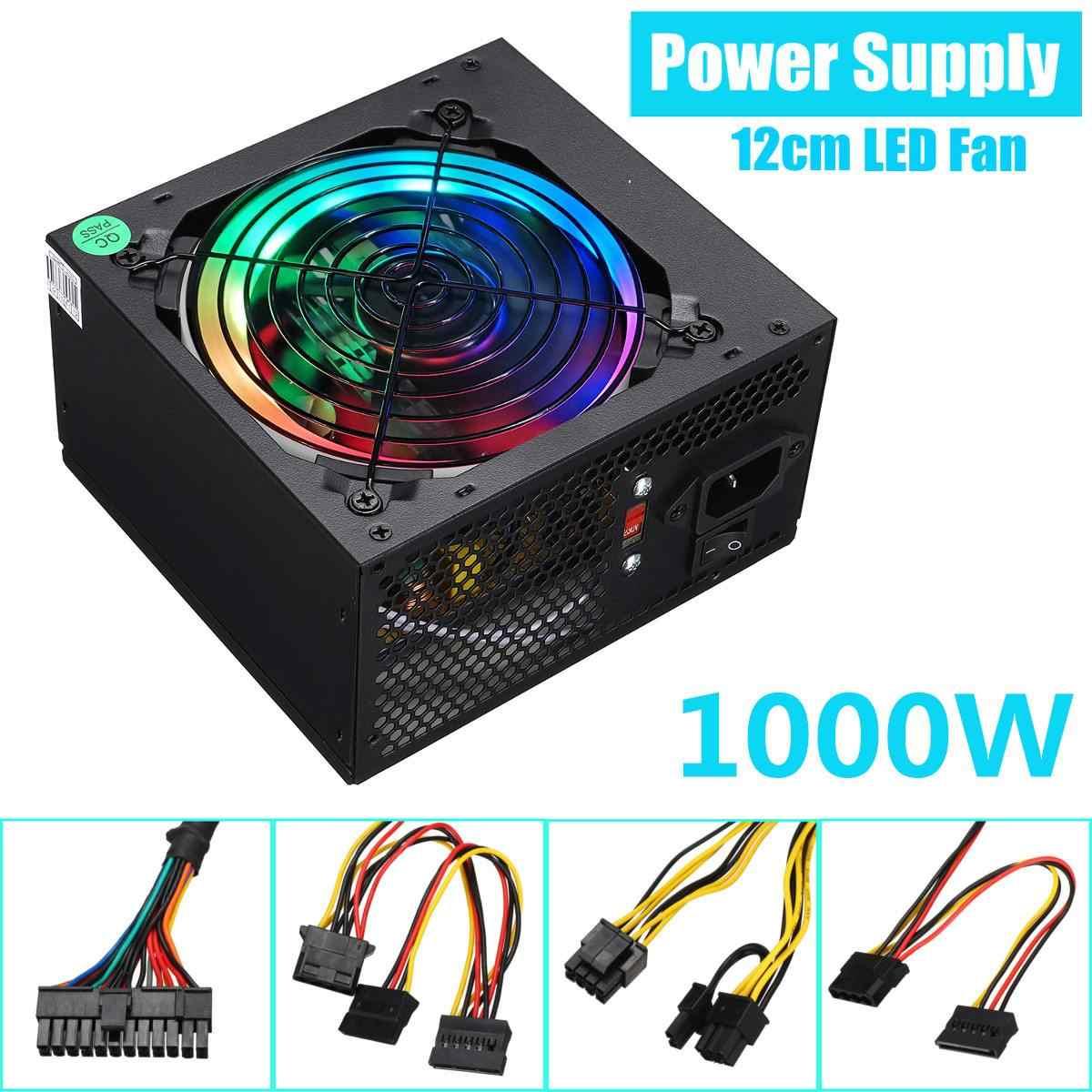 Max 1000W Power Supply PSU Silent 12 Cm LED RGB Fan ATX 24pin 12V Komputer PC SATA Game pc Power Supply untuk Intel Amd Komputer