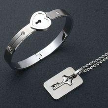 Couple Jewelry Stainless Steel Bracelet Love Heart Lock Bracelets Bangles Silver Key Pendant Necklace for Lover Jewelry Gift цена в Москве и Питере