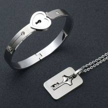 Couple Jewelry Stainless Steel Bracelet Love Heart Lock Bracelets Bangles Silver Key Pendant Necklace for Lover Jewelry Gift(China)