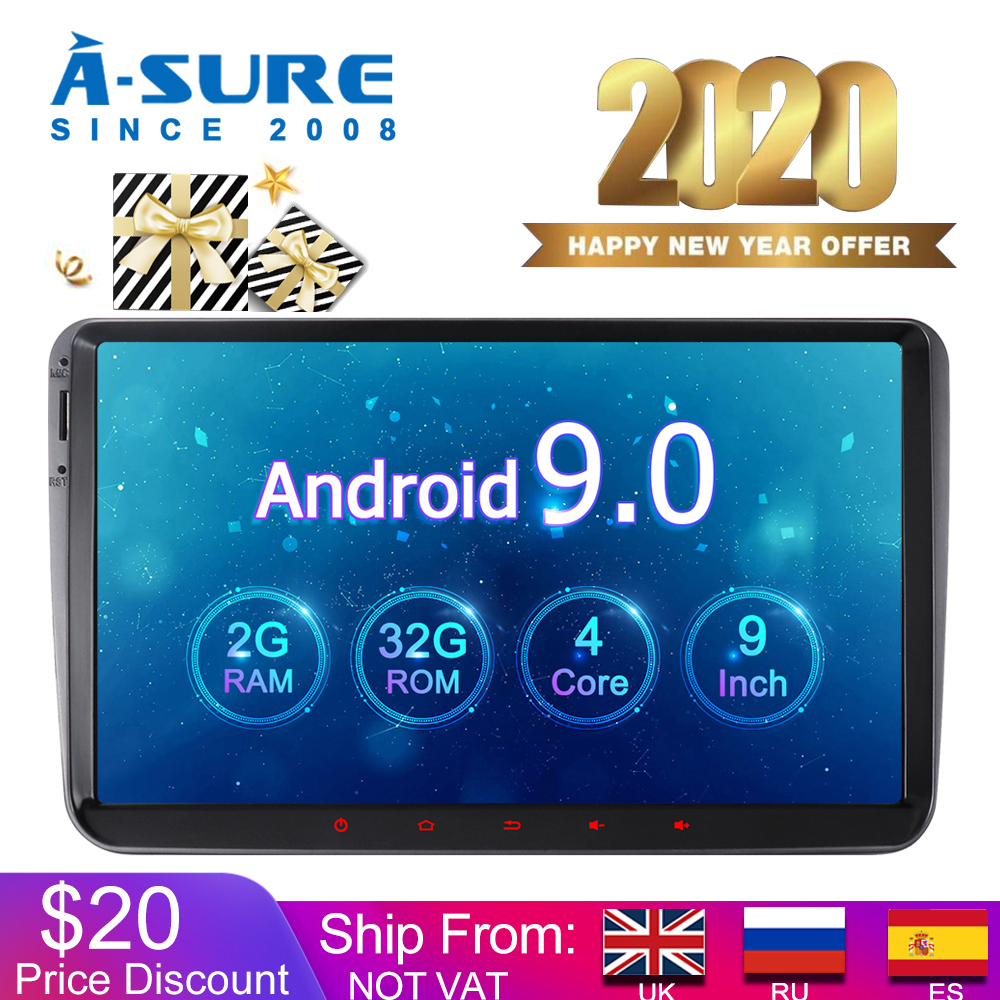 A-Sure Car Multimedia 2 Din Android 9.0 Radio IPS 9'' GPS Navigation For Volkswagen VW Passat b6 Tiguan Polo <font><b>Golf</b></font> <font><b>5</b></font> 6 Caddy T5 image