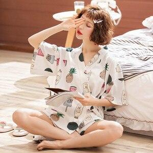 Image 2 - JULYS SONG coton femmes ensemble de pyjamas 2 pièces imprimé pyjama costume manches courtes vêtements de nuit imprimé Shorts pour femme