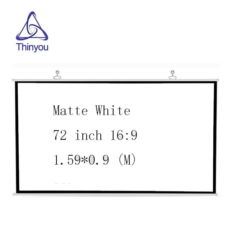 Thinyou 72 polegada 16:9 tela do projetor de parede plástico branco entretenimento em casa hd tv projeção 3d qualidade durável