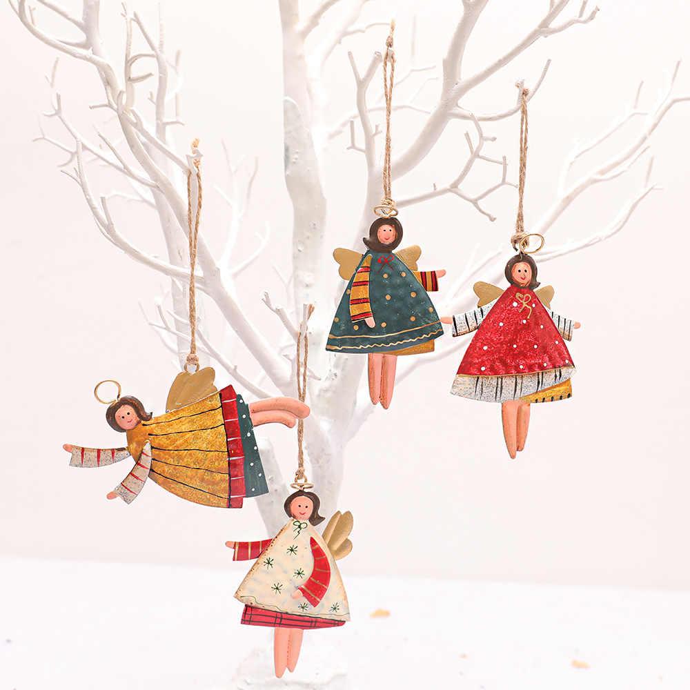 Natal Ornamen Kreatif Buatan Tangan Dicat Gadis Malaikat Natal Pohon Menggantung Liontin Natal Dekorasi untuk Rumah Pesta Tahun Baru