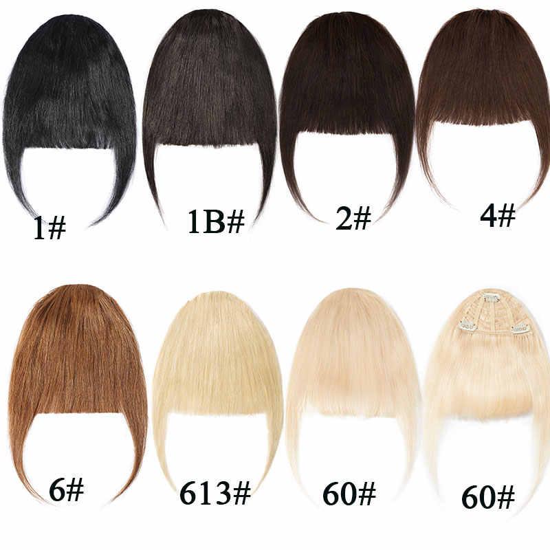SEGO 25g Clip in Menschliches Haar Pony Natürliche Haar Extensions Maschine Remy 3 Clips Blunt Bang Natürliche Haarteil Schwarz vorderen Rand