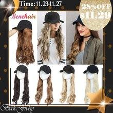 Boné de beisebol benehair com cabelo longo ondulado falso cabelo chapéu peruca extensões de cabelo sintético chapéu com cabelo natural hairpiece para mulher