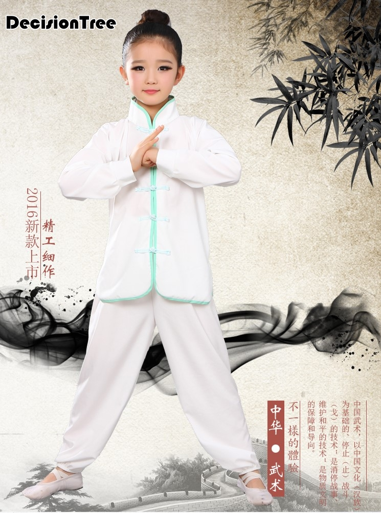 2019 Chinese Wushu Routine Uniform Kungfu Costume Martial Arts Suit Changquan Wing Chun Clothes Outfit For Children Girl Boy Kid