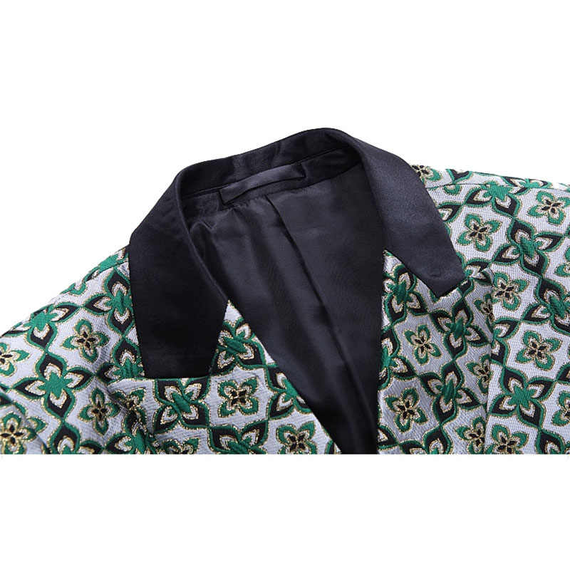 Shenrun Men Fashion Double Breasted Suit Green Floral Pattern High Quality Groom Suits Party Prom Stage Costume Singer Drummer