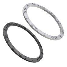 Zircônia cerâmica anel boca cerâmica escala anel prata preto relógio acessórios capa à prova dwaterproof água 38*31.8*1.2mm unisex moldura