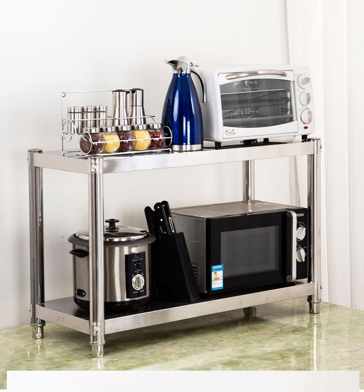 Stainless Steel Kitchen Shelf Double Layer Table-board Microwave Oven Rack Storage Rack Oven Floor Storage Rack 2-Layer Storage