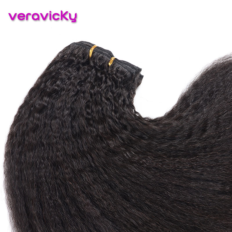 Human-Hair-Extension Hair-Clip Kinky Striaght Natural Brazilian Remy 120g Full-Head-Machine title=