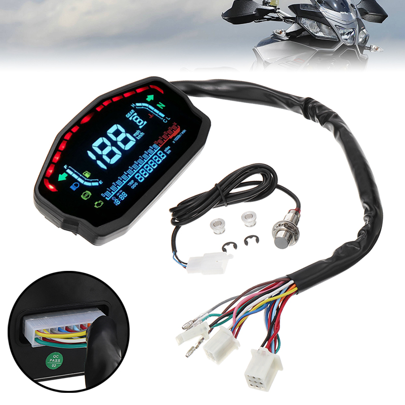 Mayitr 1pc Universal LED LCD Speedometer Digital Backlight Odometer Gauge For BMW Honda Kawasaki for Yamaha image