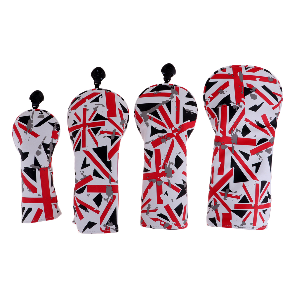 Flag Pattern Golf Club Head Covers Set Of 4, Fit For Driver Wood(460cc), Fairway Wood, Hybrid(UT) -Adjustable Number Tag