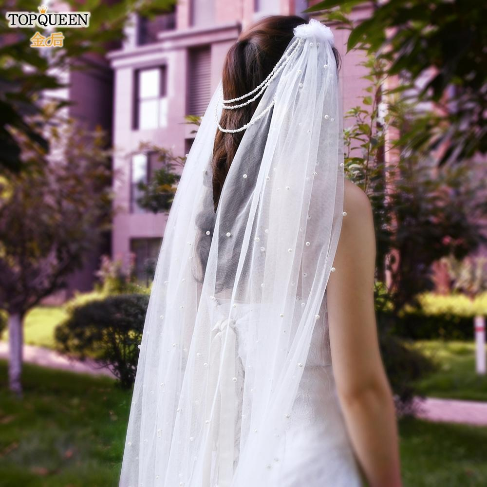 TOPQUEEN V03 One Tier Wedding Veil Pearl Beaded Velvet Veil White Ivory Fingertip Veil for Brides with Comb Wedding Accessories