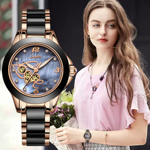SUNKTA Ladies Watch Top Quality Rhinestone Luxury Rose Gold Black Ceramic Waterproof Watches Woman Classic Series