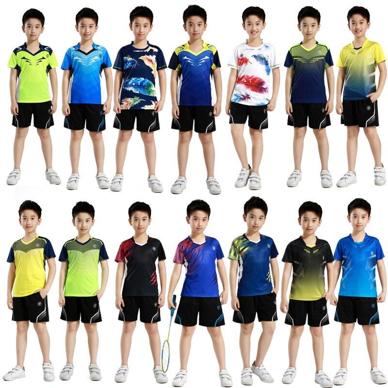 Ensembles de Badminton de sport pour enfants, combinaison d'entraînement de Tennis de Table pour garçons, chemises de tennis de Table pour garçons et filles, t-shirts de course avec shorts