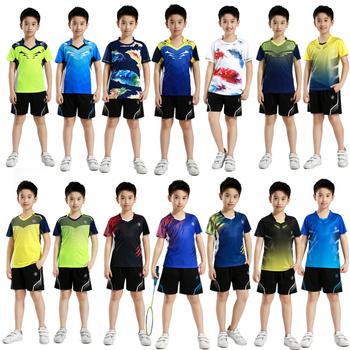 Zestawy sportowe dla dzieci Badminton dla dzieci chłopcy trening tenis stołowy garnitur chłopcy koszulki tenisowe dziewczyny bieganie koszulki z szortami tanie i dobre opinie wsryxxsc xs-3xl shirts+shorts