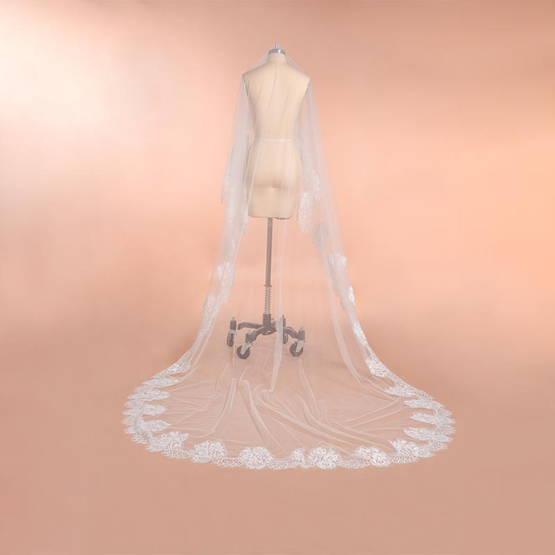 New Arrival 2m 3m 4m Cathedral Wedding Veils Long Bridal Veil 2019 One Layer White Ivory